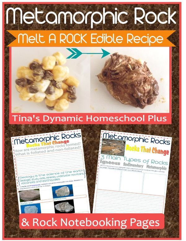 Metamorphic Rock - Yum! Earth science and edible. Melt a rock edible recipe and Free Notebooking Pages