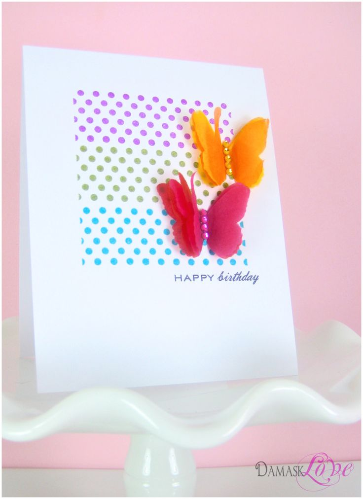 Birthday Butterfly Card by Amber Kemp-Gerstel @Damask Love: Polka Dots, Butterfly Cards, Washi Tape Cards, Cards Butterflies, Pretty Cards, Paper Magic, Flowers Birthday, Butterflies Cards, Tissue Paper