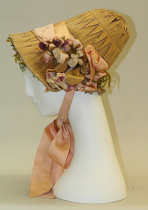 Bonnet, 1850, American, made of silk and straw