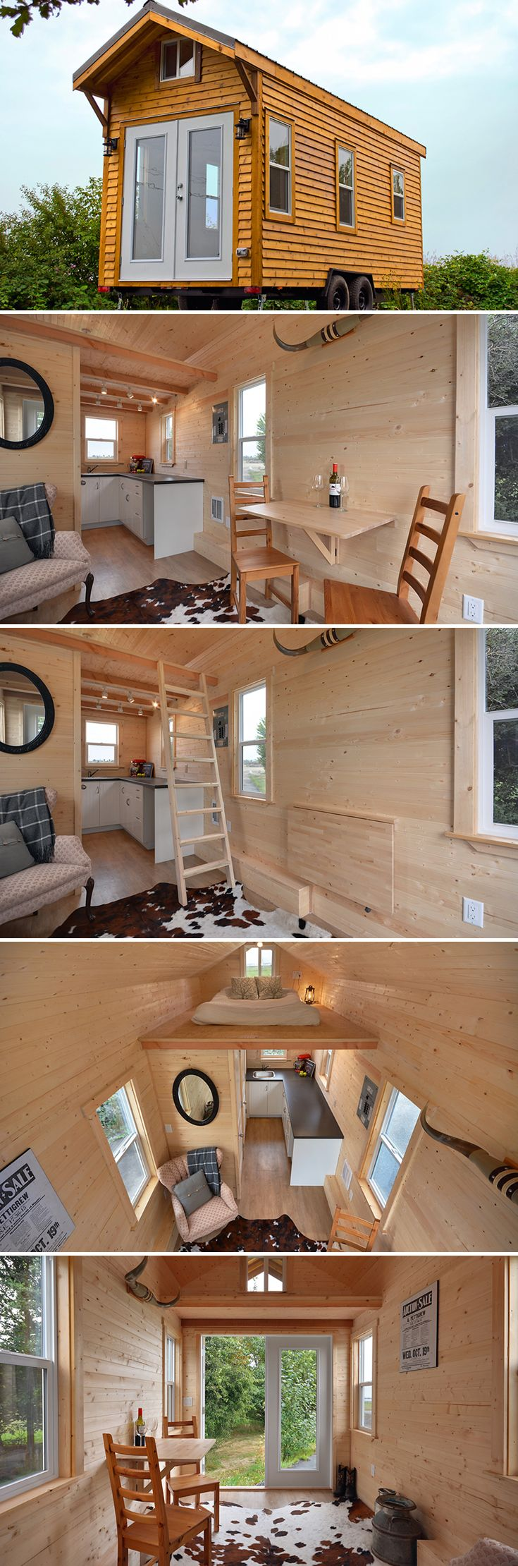 A rustic tiny house with French doors and windows throughout allow for plenty of natural light. The 20' model starts at $46,500 CAD (~$35,000 USD).