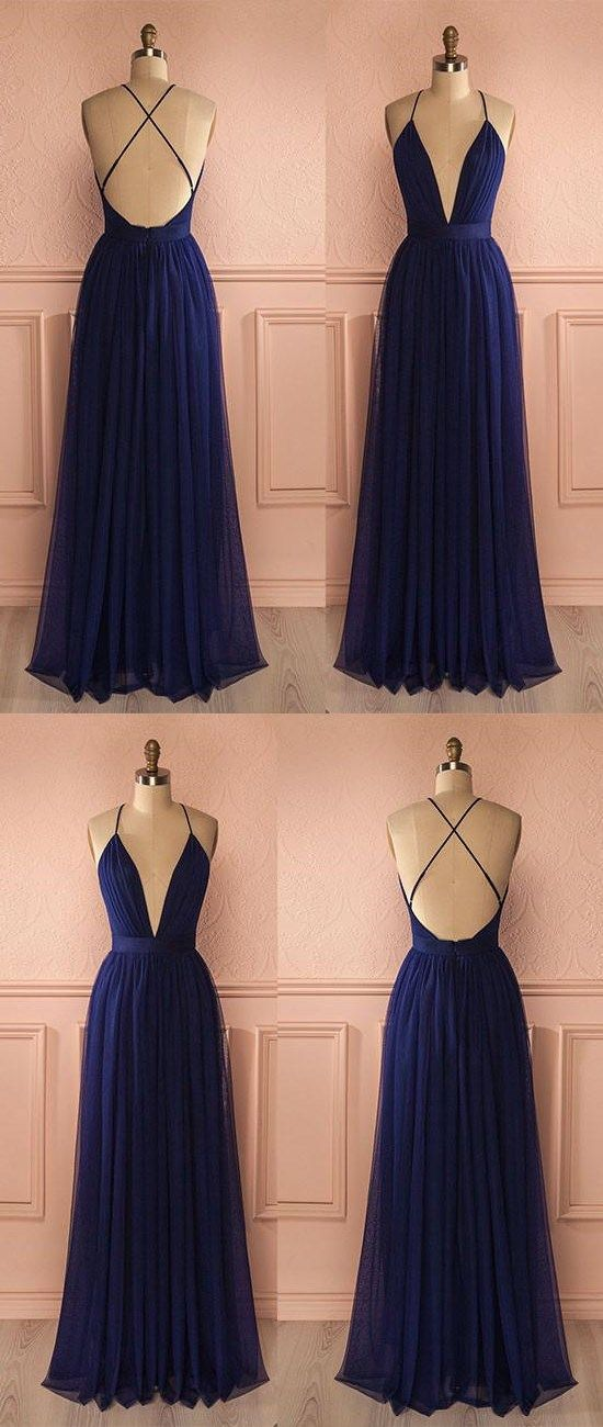 SIMPLE DARK BLUE A-LINE V NECK TULLE CHIFFON LONG PROM DRESS EVENING DRESS #prom #dresses #longpromdress #promdress #eveningdress #promdresses #partydresses #darkbluechiffonpromdresses