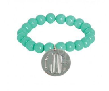 """Monogrammed bracelet. Perfect accessory for the summer! Comfortable stretch fit. Disc is 2.5 cm. Please allow 2 weeks before your product ships. Please add personalization information in """"notes to seller"""" on checkout page. Fonts - Stacked, Circle, Interlocking or Party Font"""