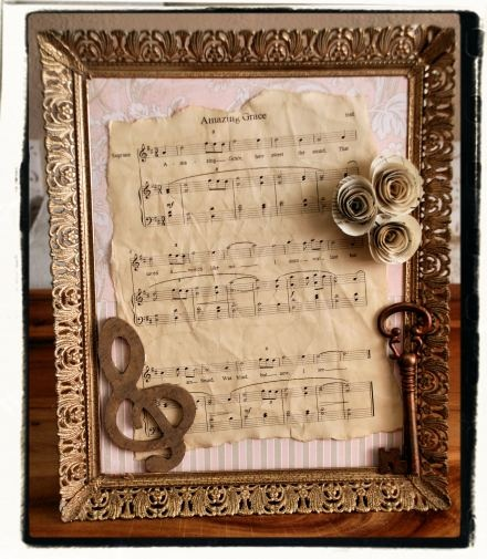 Custom order, framed art using Amazing Grace.  Using a free printable song, I coffee stained it.  Check out the process on my blog:  mylifeaslori.word...