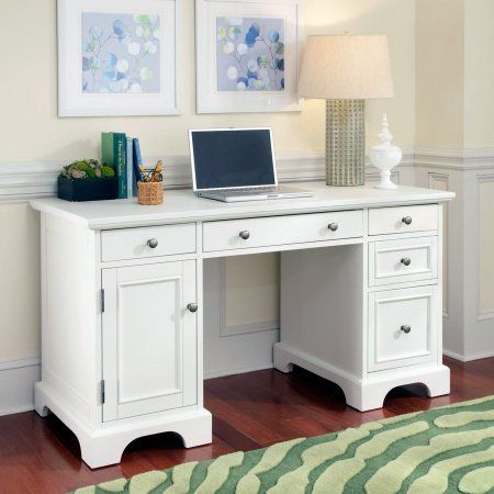 Home Styles Naples Pedestal Desk - White