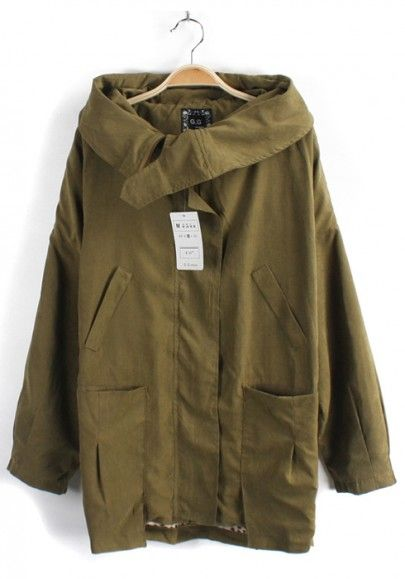 Army Green Collar With Hat Cotton Trench Coat