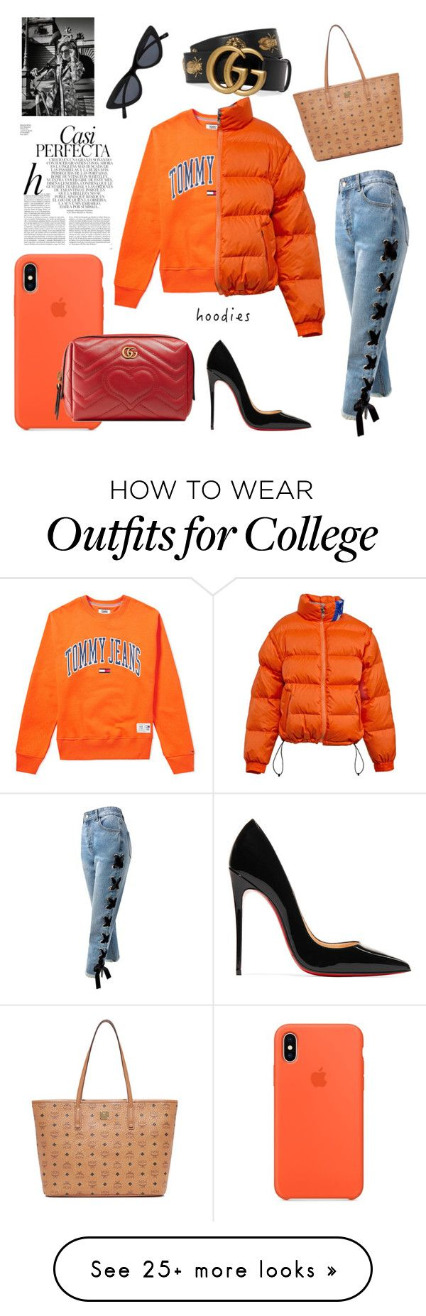 """""""Orange Hoodie Set"""" by ilvavh on Polyvore featuring Tommy Hilfiger, Sans Souci, Christian Louboutin, MCM, Gucci, Whiteley, Burton and Hoodies"""