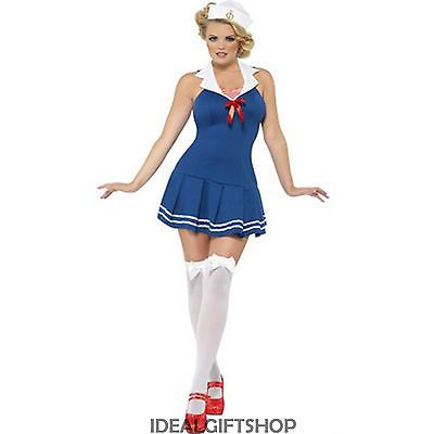LADIES SEXY SAILOR COSTUME SEA CAPTAIN PIN UP FANCY DRESS 40'S HEN PARTY MARINE