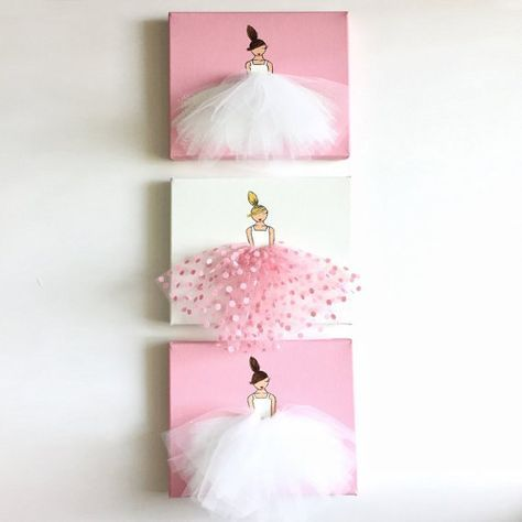 Set of 3 nursery ballerina wall art prints kids room art girl baby shower gift