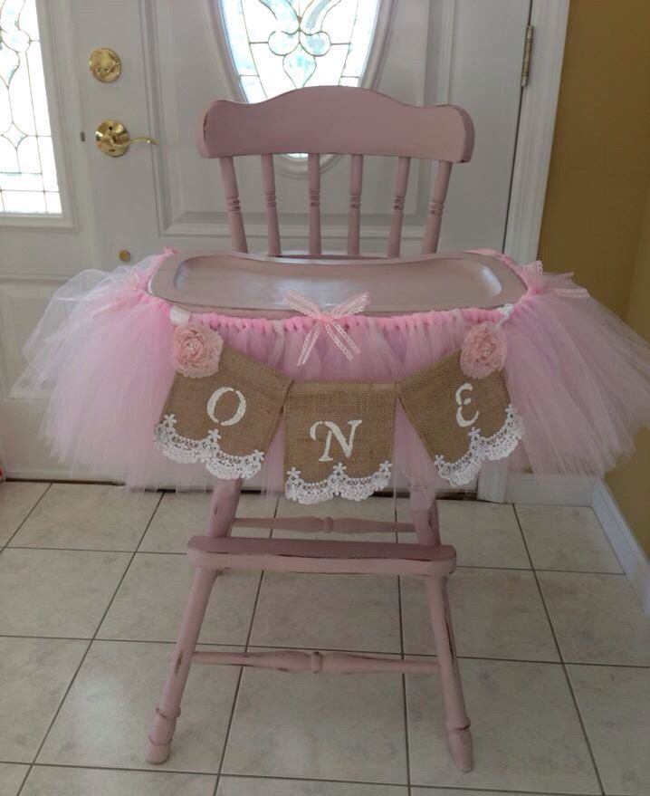 Shabby Chic High Chair Tutu (Banner not included)  fit for a Princess 1st Birthday, Christening, etc. Minnie Mouse, Cinderella, Frozen by BeTutuCuteandMore on Etsy