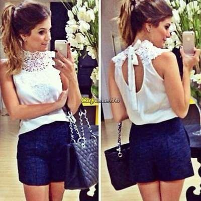 Las mujeres Encaje Chiffon T Camisa Blusa ropa sin espalda Sheer Sin Mangas M-xl Crochet caf8