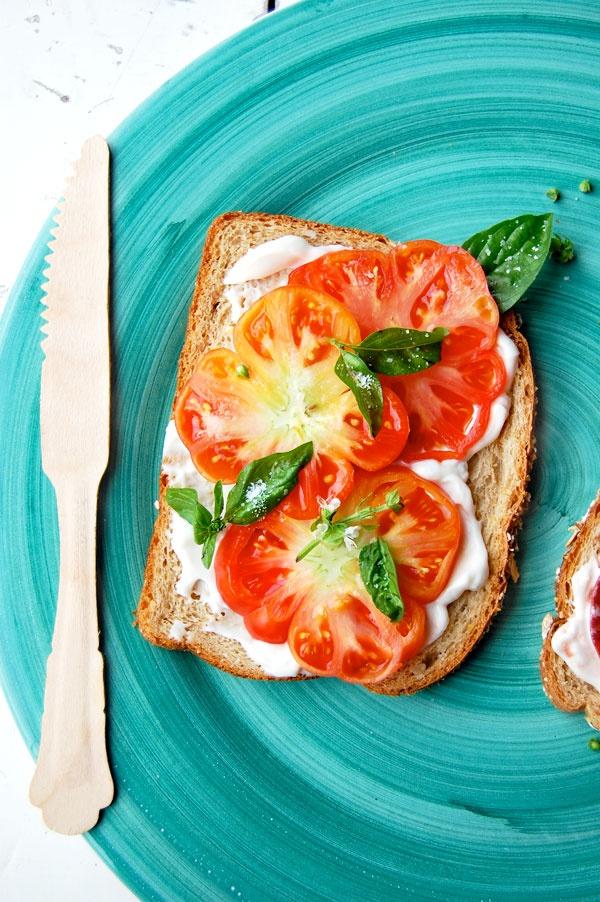 // tomato, basil, and mayo sandwich