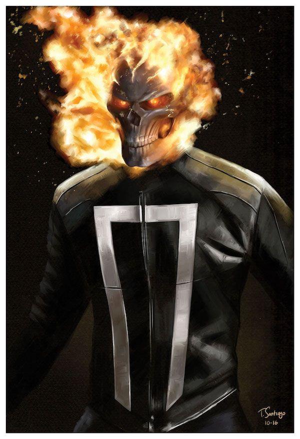 ghost rider agents of shield marvel fan art by artist tony santiago of tonysantiagoart.com