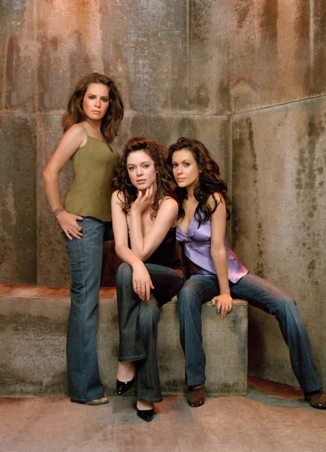 Still of Alyssa Milano, Rose McGowan and Holly Marie Combs in Charmed.  I still watch reruns of Charmed to this day and they worked hard on that show.  I can tell that it was well put together.  The music really played a part with the view of the San  Fransisco Bridge.   I don't know if Tv can pull this off today with the budgets they have to work with.