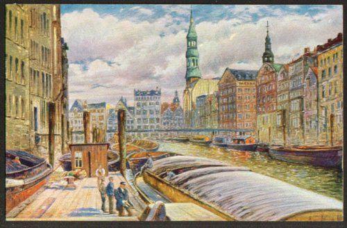 River barges Hamburg postcard Max Ullmann 1910s