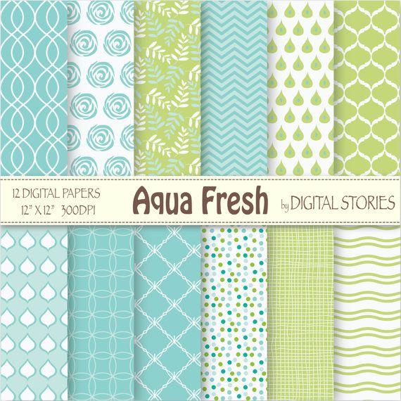 "Tiffany Blue Digital Paper: ""AQUA FRESH"" Turquoise Green Digital Scrapbook Paper Pack for cards, invites, crafts - Buy 2 Get 1 Free"