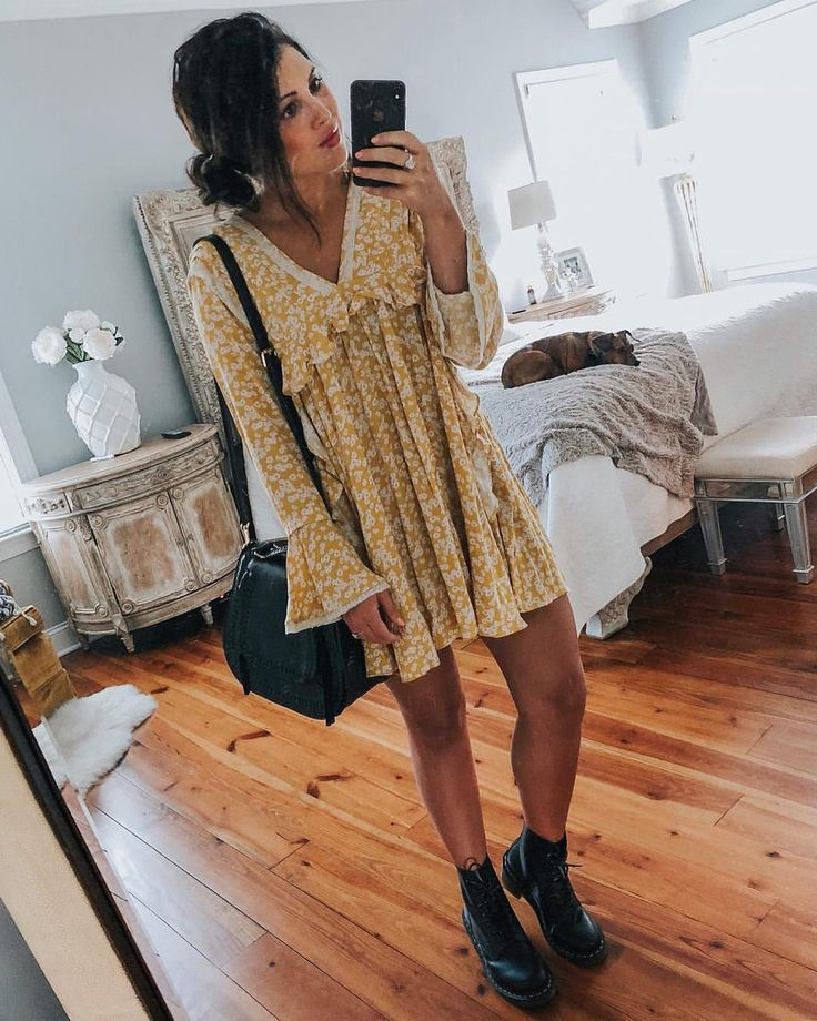Free People, free people dress, dr martens, doc martens, doc martens outfit, boh…