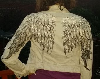 Hand bleached angel wings on pre loved womans by AngelBlueArt