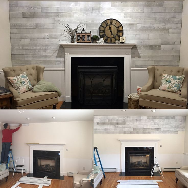 A great solution for the pallet wall look! Timberwall! It's a real reclaimed wood plank with an adhesive back. No strapping needed and also great for walls with existing moldings, as it is thin and isn't built out with strapping. Makes for a super easy and fast project.  Farmhouse chic!