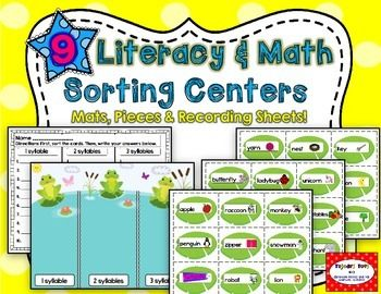 Literacy & Math Sorting Activities: 9 SETS!