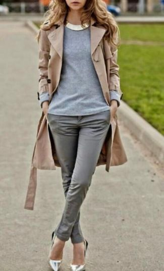 Women's Tan Trenchcoat, Grey Crew-neck Sweater, Grey Skinny Pants, Silver Leather Pumps