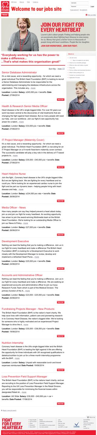 The British Heart Foundation's mobile-friendly vacancies page