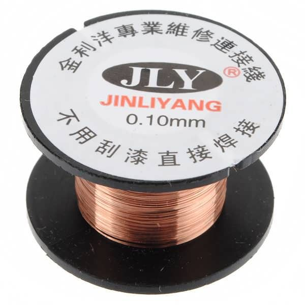 Description :  	0.1mm Copper Soldering Solder PPA Enamelled Reel Wire Roll 15m New 	Features :  	 It can be used to connect Fly line(Jump wire) for computer and mobile phone motherboard repair. 	 No need to remove the lacquer, welding directly. 	1 roll of 0.1mm Enamelled...