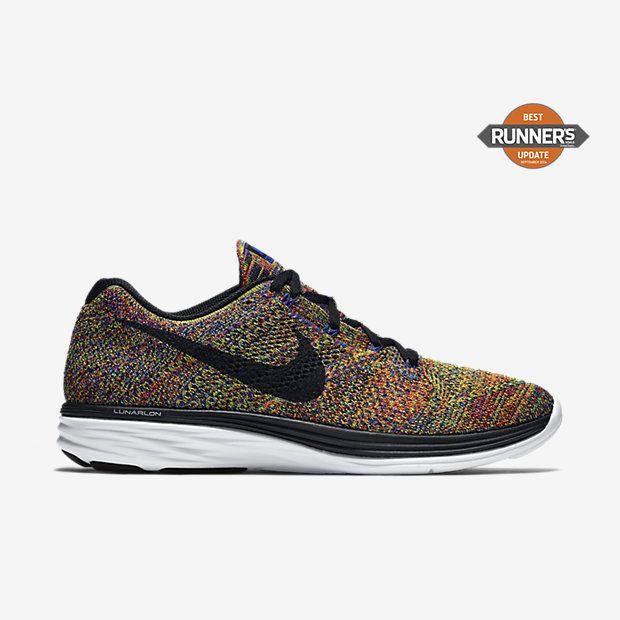 Chaussure de running Nike Flyknit Lunar 3 pas cher pour Homme Bleu coureur/ Cramoisi total