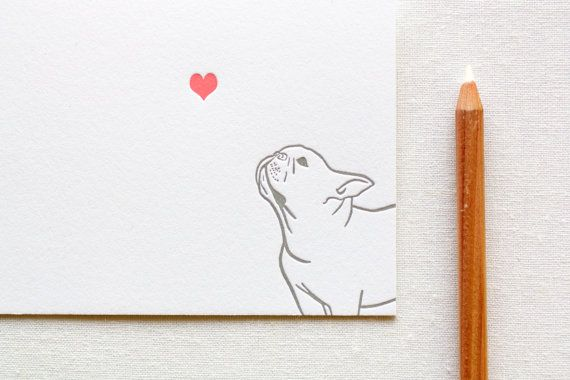 Letterpress French Bulldog in Love Card by FatBunnyPress on Etsy