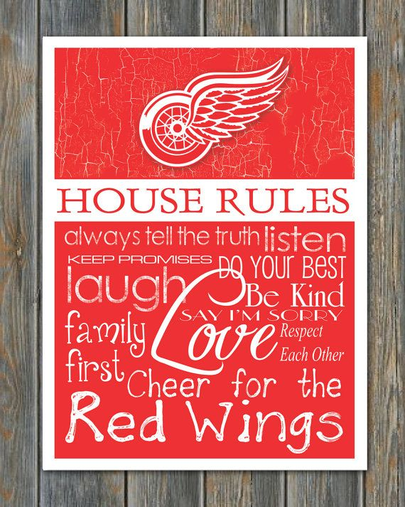 DETROIT RED WINGS House Rules Art Print by fanzoneimprintz on Etsy