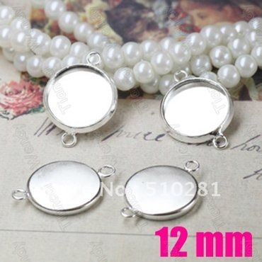 Free ship! inner size 12mm pad Silver Plated Jewelry Link connector Pendant base pendant blanks gemstone cameo cabochon setting US $42.98