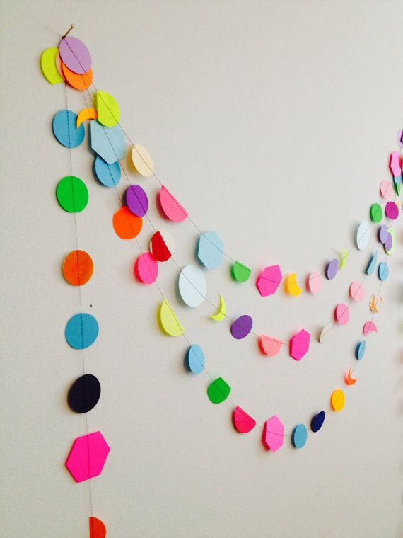 Confetti Garland mix and match rainbow colors in neon and pastel, with a variety of shapes by GrayDayStudio
