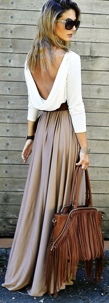 Women's fashion | Backless fold shirt, neutral maxi skirt and fringed handbag | Latest fashion trends