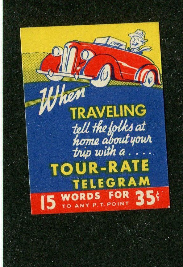 Vintage Poster Stamp Label TOUR-RATE TELEGRAM When traveling.... car graphic