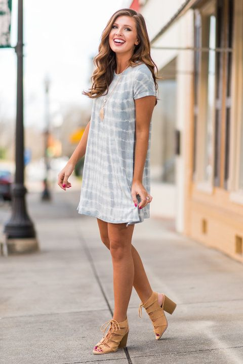 """""""Walk On The Sand Dress, Cool Gray"""" This tie dye dress is perfect beach wear! It's light jersey knit fabric is so perfect for warm weather!  #newarrivals #shopthemint"""