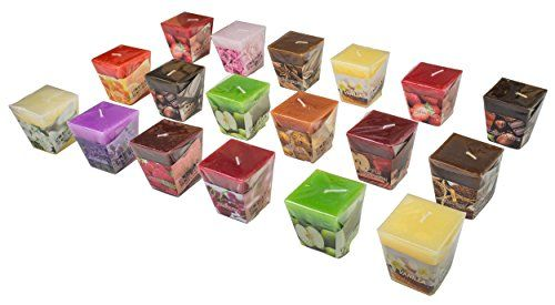 All2shop Scented Votive Candles Set of 18 Assorted Pure Scents for Relaxation & Aromatherapy (18 Assorted Scents Normal)