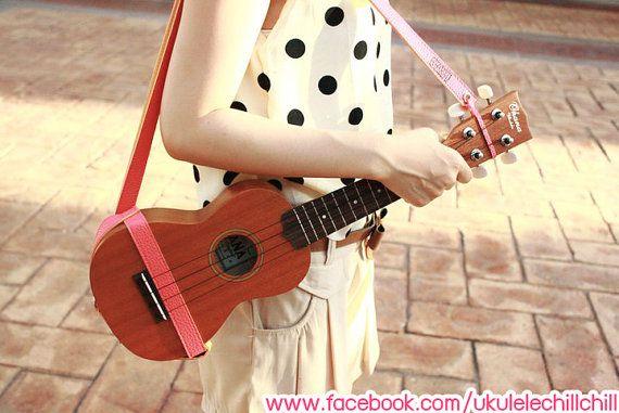 Ukulele Strap Dark Pink Color : Handmade Design for Ukulele Soprano,Concert,Tenor Size By Ukulele ChillChill (I can ship worldwide) http://www.facebook.com/ukulelechillchill