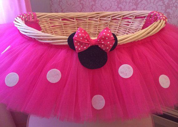 Grande caliente rosa Minnie Mouse tema tutú cesta cesta de