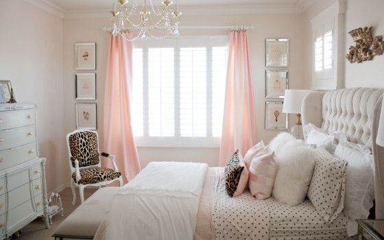Pink and gold bedroom by Randi Garrett Design, using PB Teen gold polka dot sheets, RH Baby and Child crown wall plaque and leopard chair