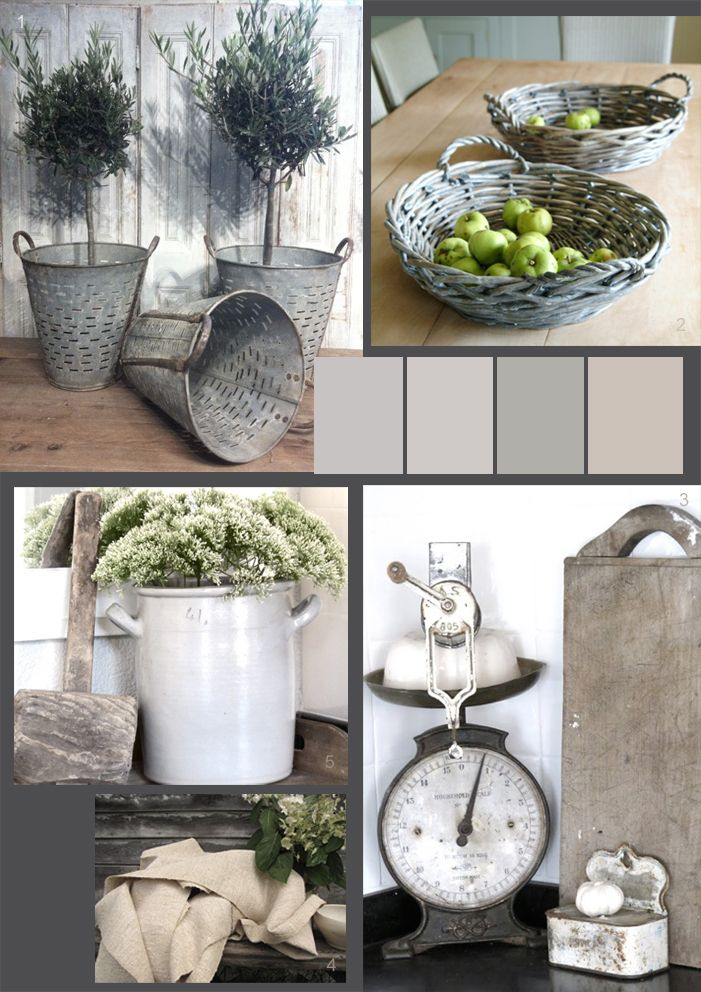 Soft putty shades and grey - farmhouse kitchen elements... Love these colors!!