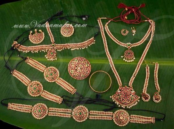 86b7cb8176 Temple Jewellery set Indian bridal wedding Kuchipudi Bharatanatyam ...