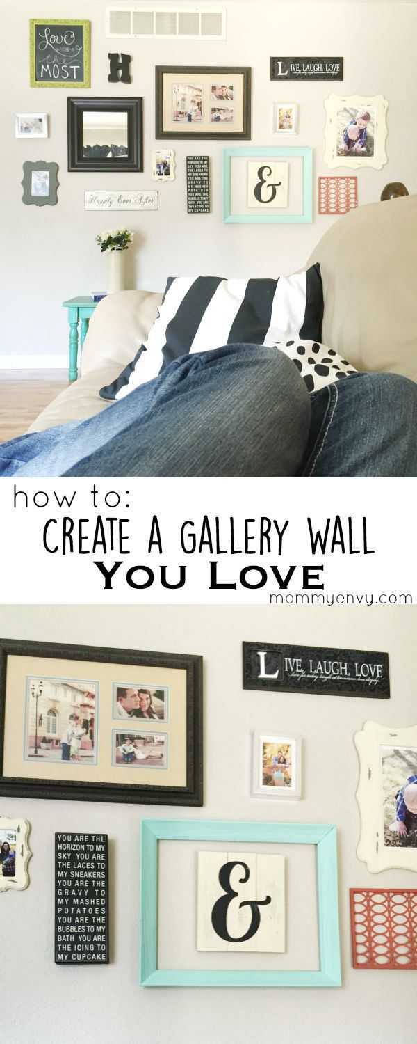 How to Create a Gallery Wall You Love! Tips and ideas for creating a gallery wall layout on www.mommyenvy.com