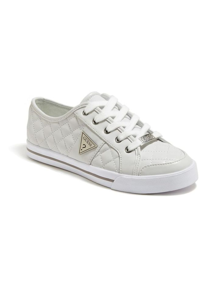 GUESS Brooklee Sneakers Size 6.5 white quilted sneakers guess logo #GUESS #FashionSneakers