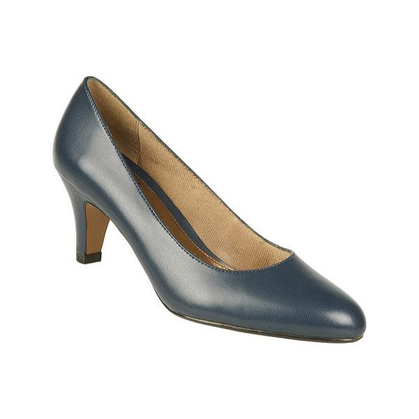 Women's Life Stride Sable Pump (3.500 RUB) ❤ liked on Polyvore featuring shoes, pumps, blue, casual, casual shoes, round cap, mid heel pumps, formal leather shoes, blue leather pumps and blue shoes