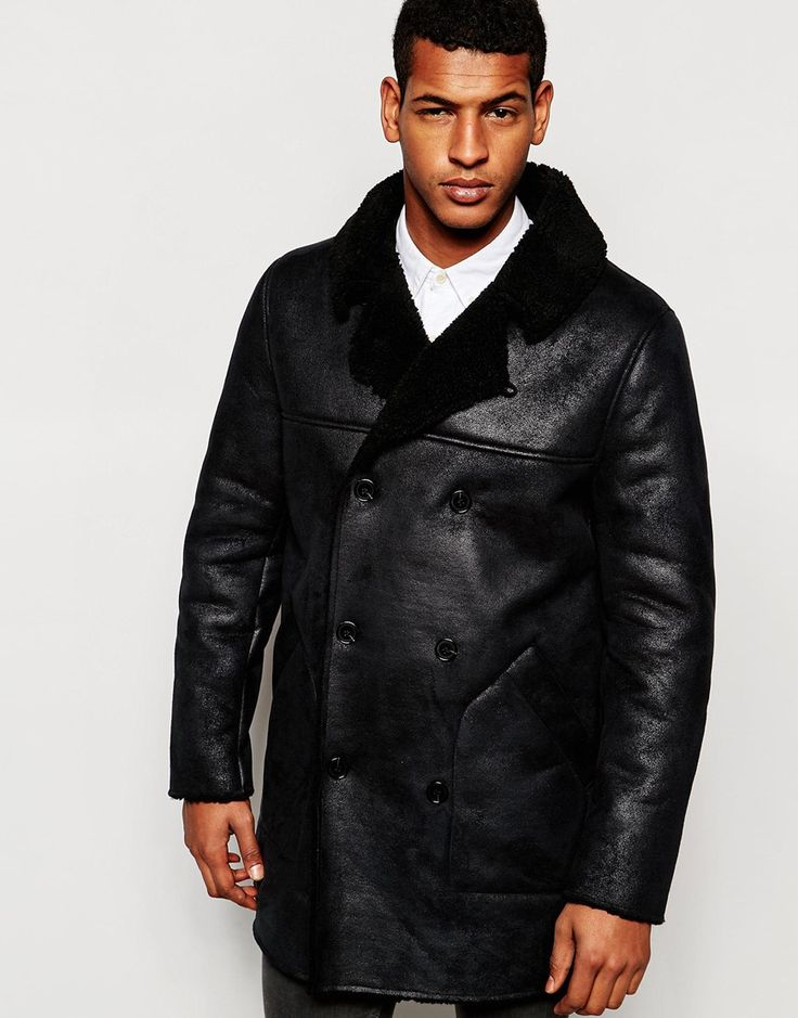 ASOS+Double+Breasted+Asymmetric+Faux+Shearling+Jacket+In+Black £85