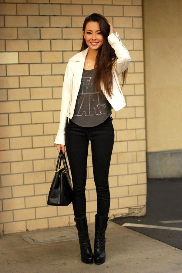 White leather moto jacket with black skinnies and Star Wars tee. Get your chic nerd on- lol!