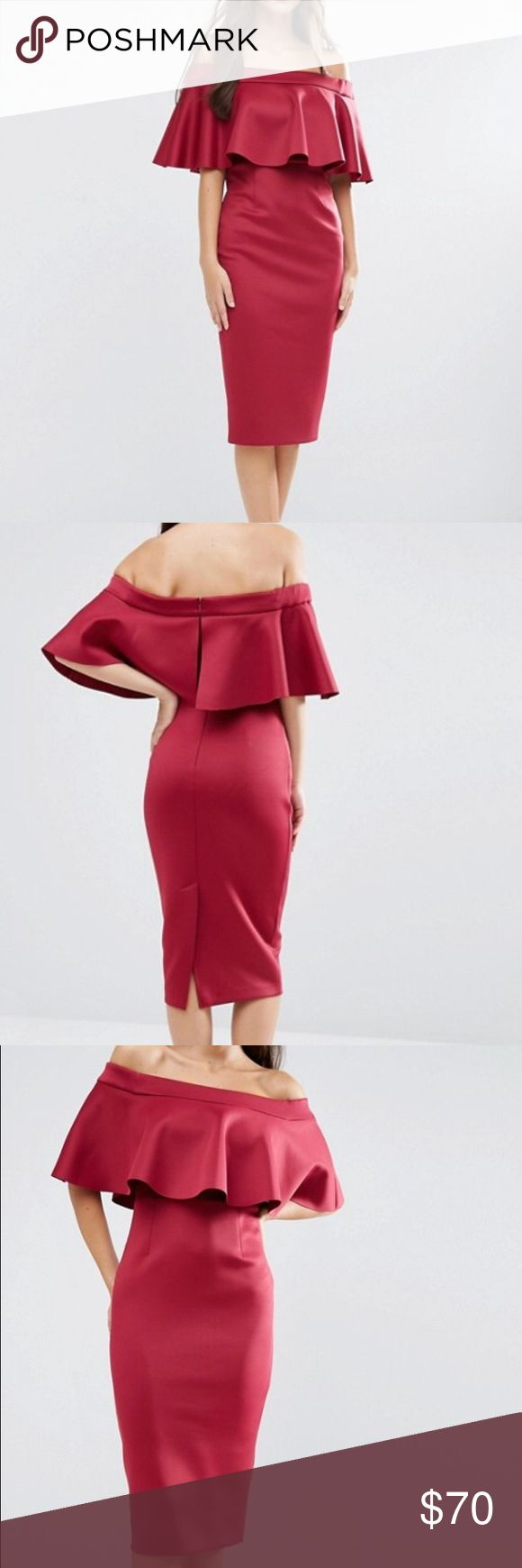 ASOS Scuba Off the Shoulder Pencil Dress UK size 6 / US size 2. Never worn or tried on, in perfectly new condition. Was originally $83 And almost $100 including tax and shipping. Beautiful red, comfortable, sleek fabric. Perfect for any party or special day! ASOS Dresses Midi