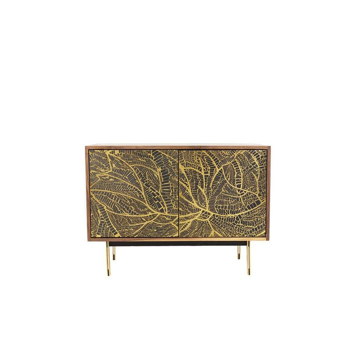 Forest 2 Cabinet with Three Brass Panel Doors