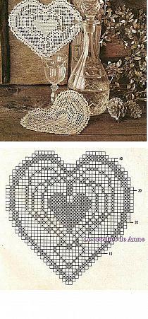 Crochet heart doily..