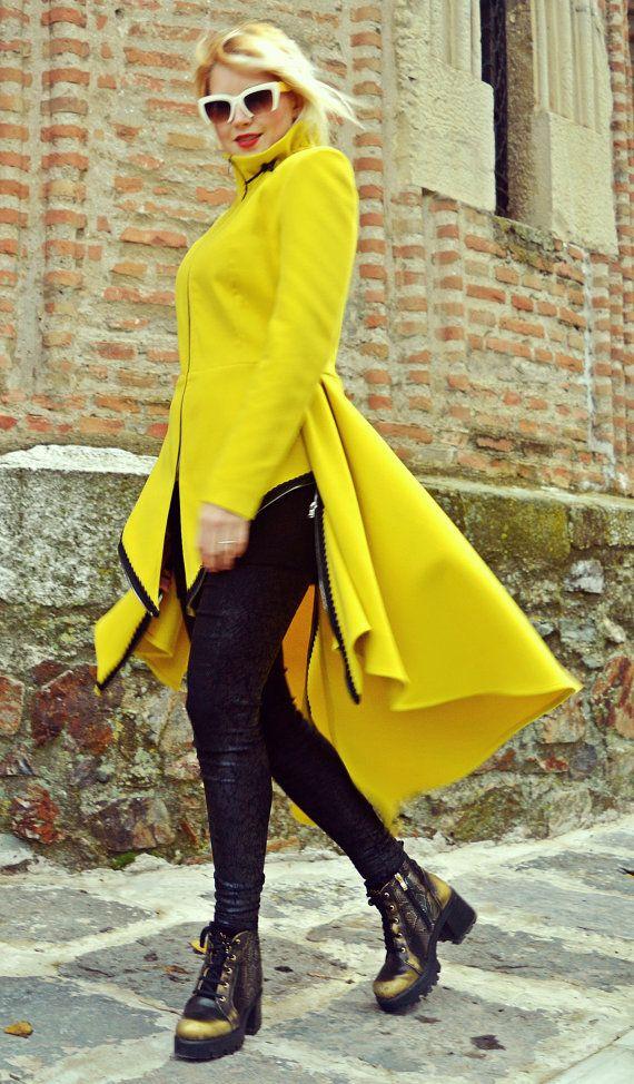Lemon Yellow Extravagant Coat / Funky Long Tail Coat / by Teyxo