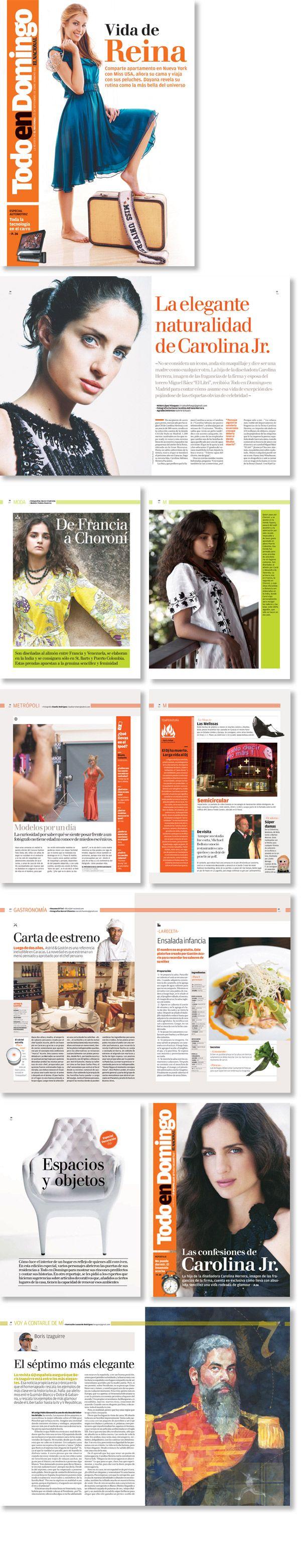 Rediseño de la revista dominical del periódico El Nacional, Venezuela.  Trabajo realizado para Estudi Cases.